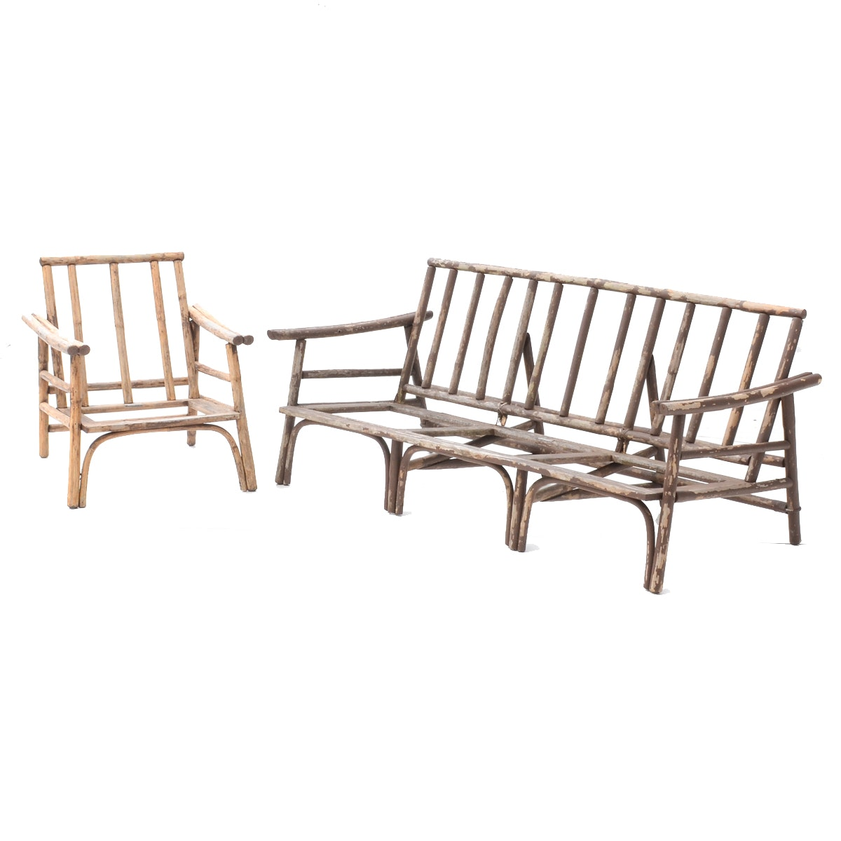 Vintage Ficks Reed Patio Sofa and Chair Frames
