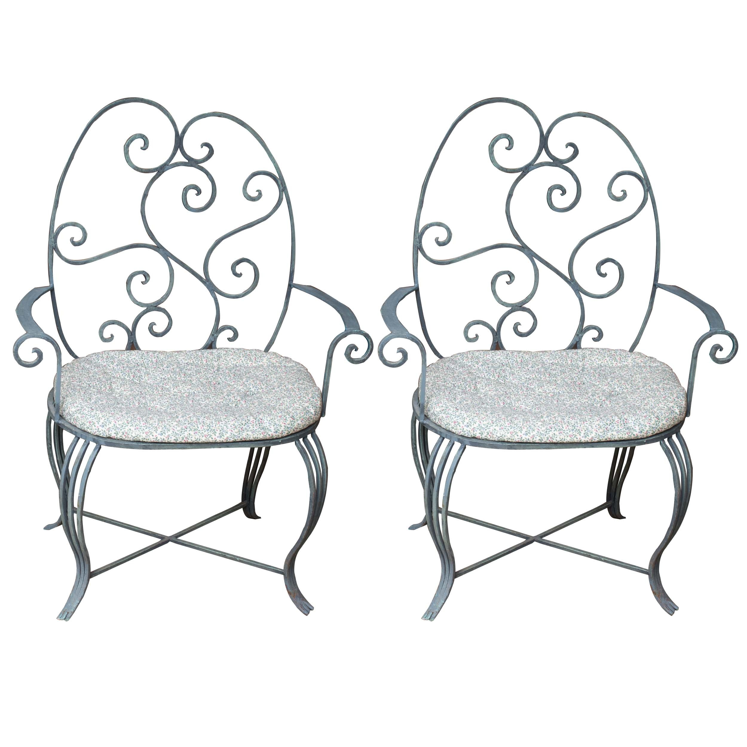 Pair of Wrought Iron Armchairs