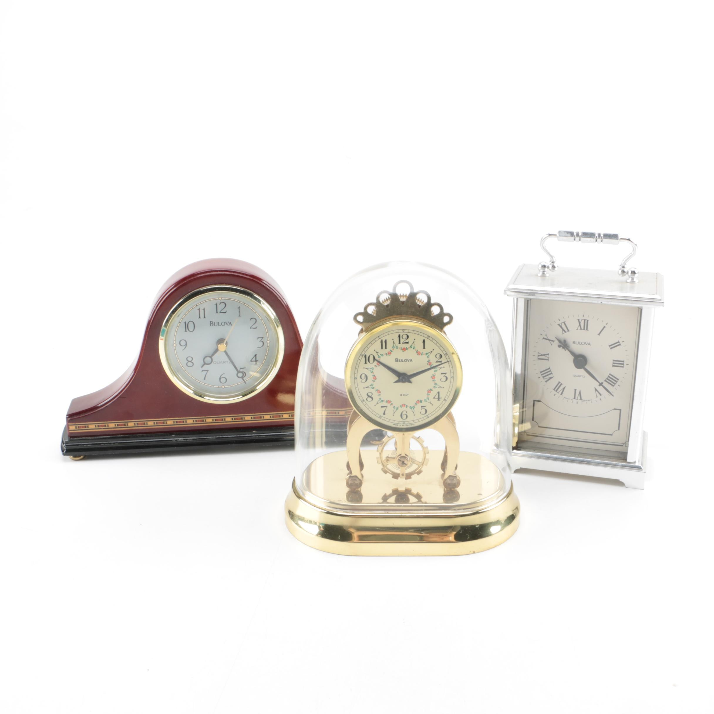 Grouping of Bulova Shelf Clocks