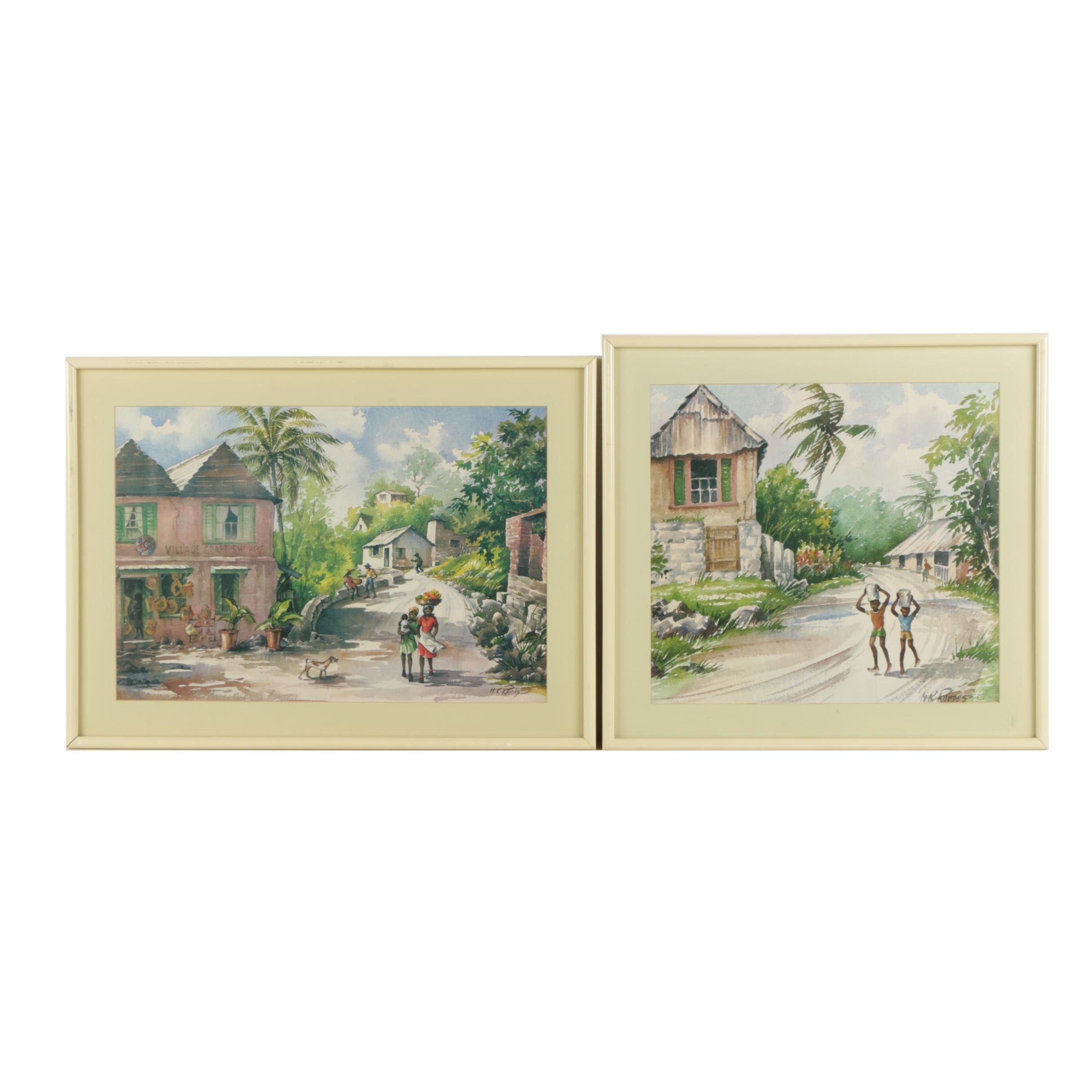 Offset Lithographs on Paper after Margaret K. Rhodes of Jamaican Scenes