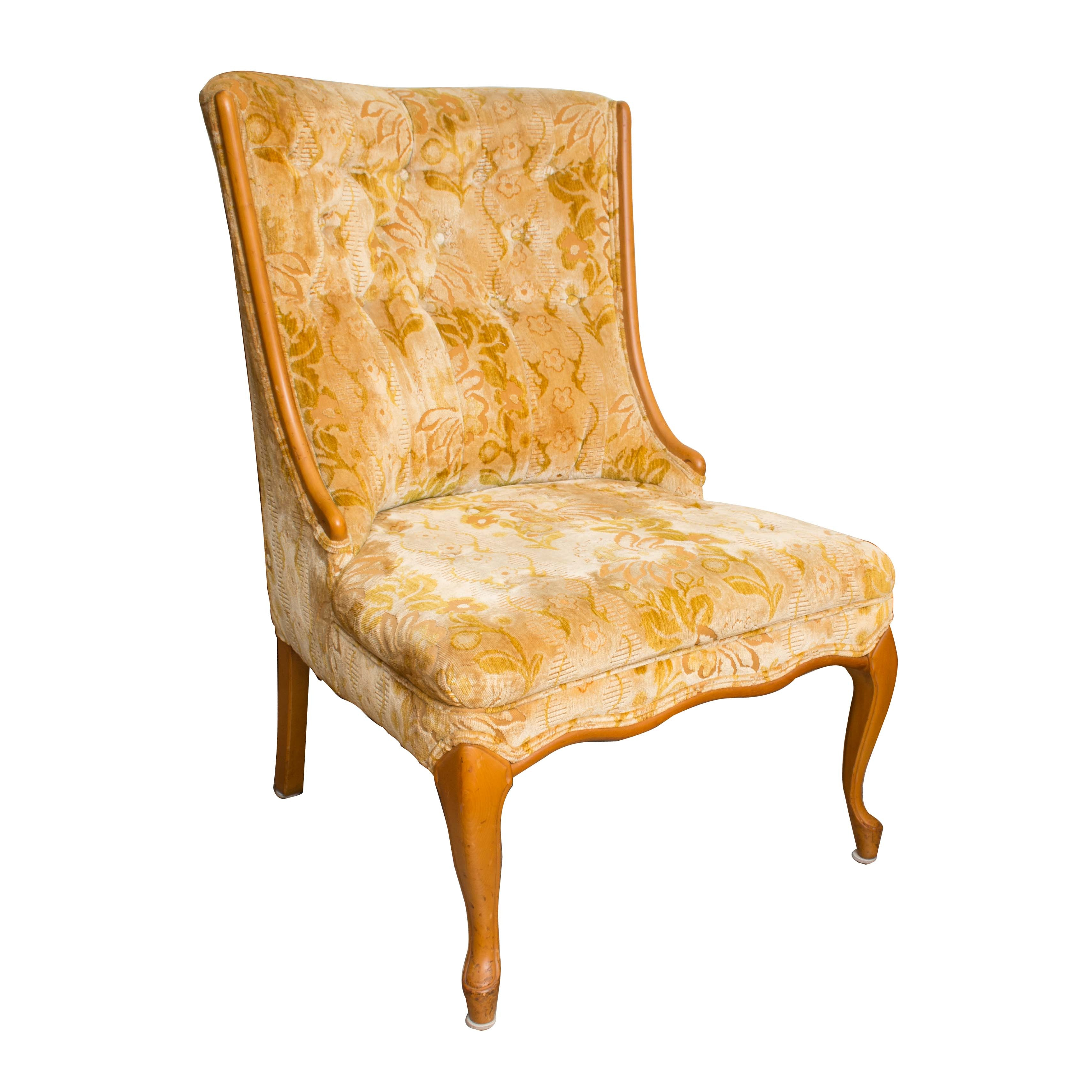Mid-Century French Provincial Style Upholstered Side Chair