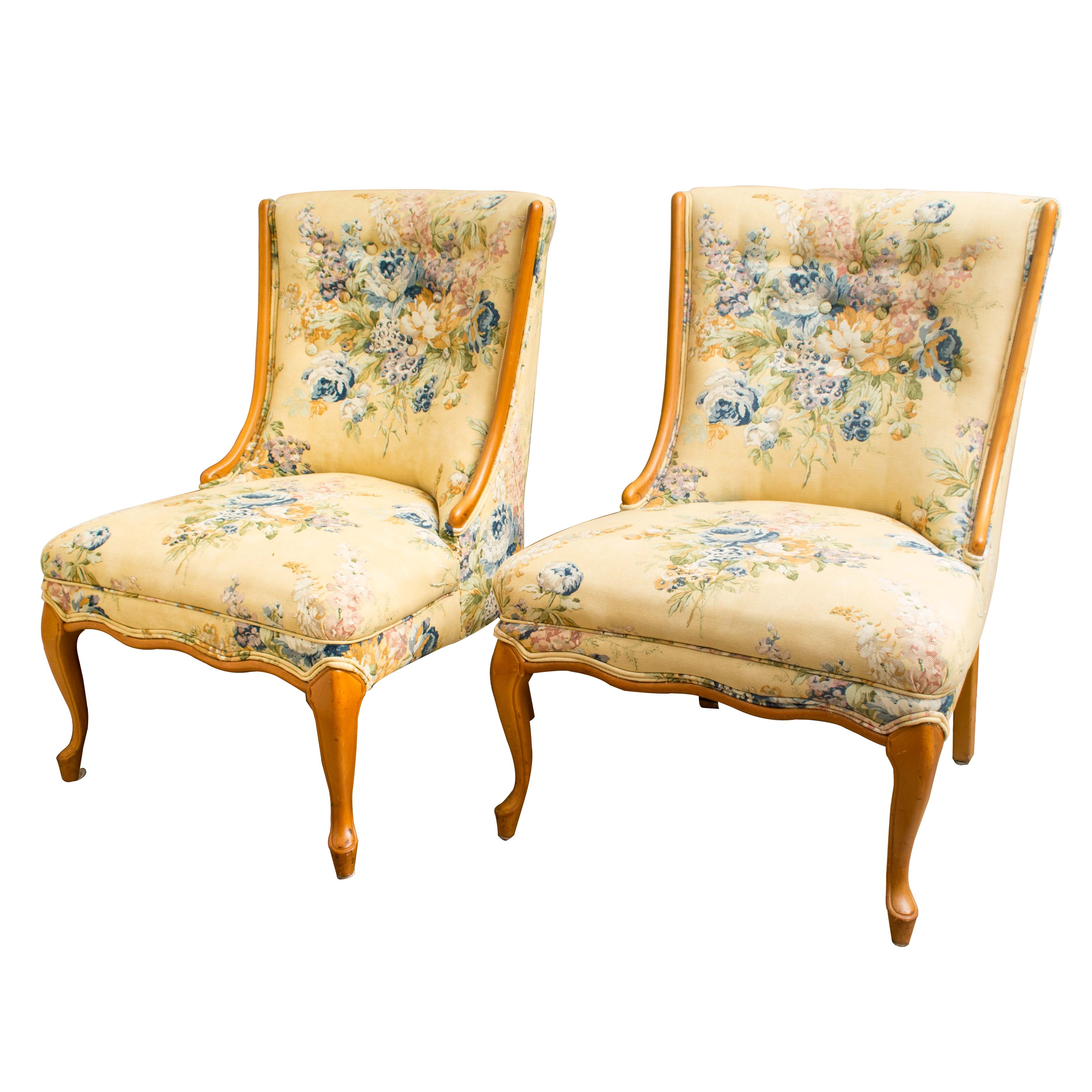Pair of French Provincial Style Upholstered Side Chairs
