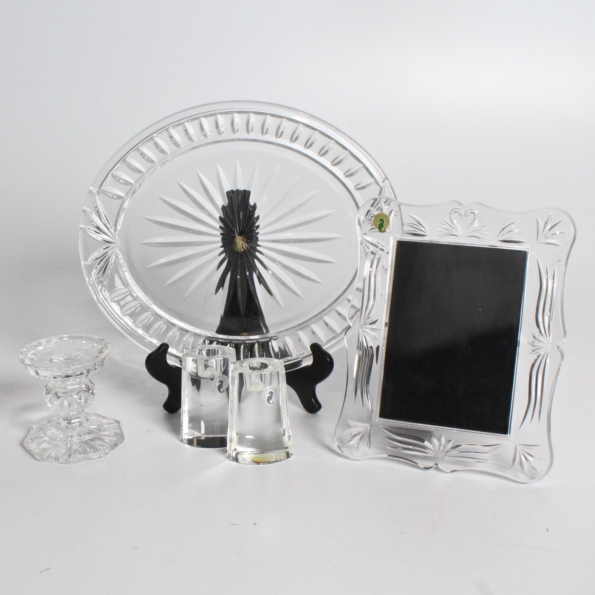 "Waterford Crystal Platter, Frame and ""Signia"" Candle Holders"