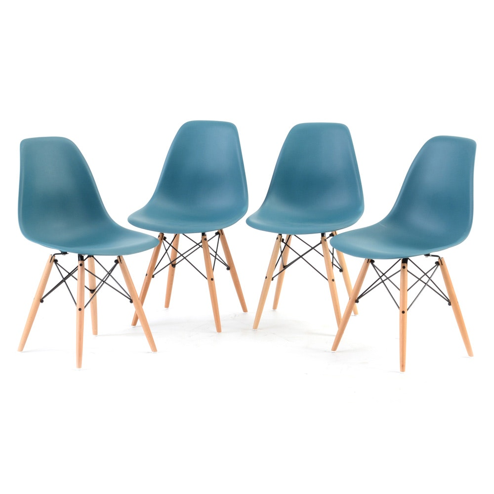 Set of Four Eames Style Molded Side Chairs