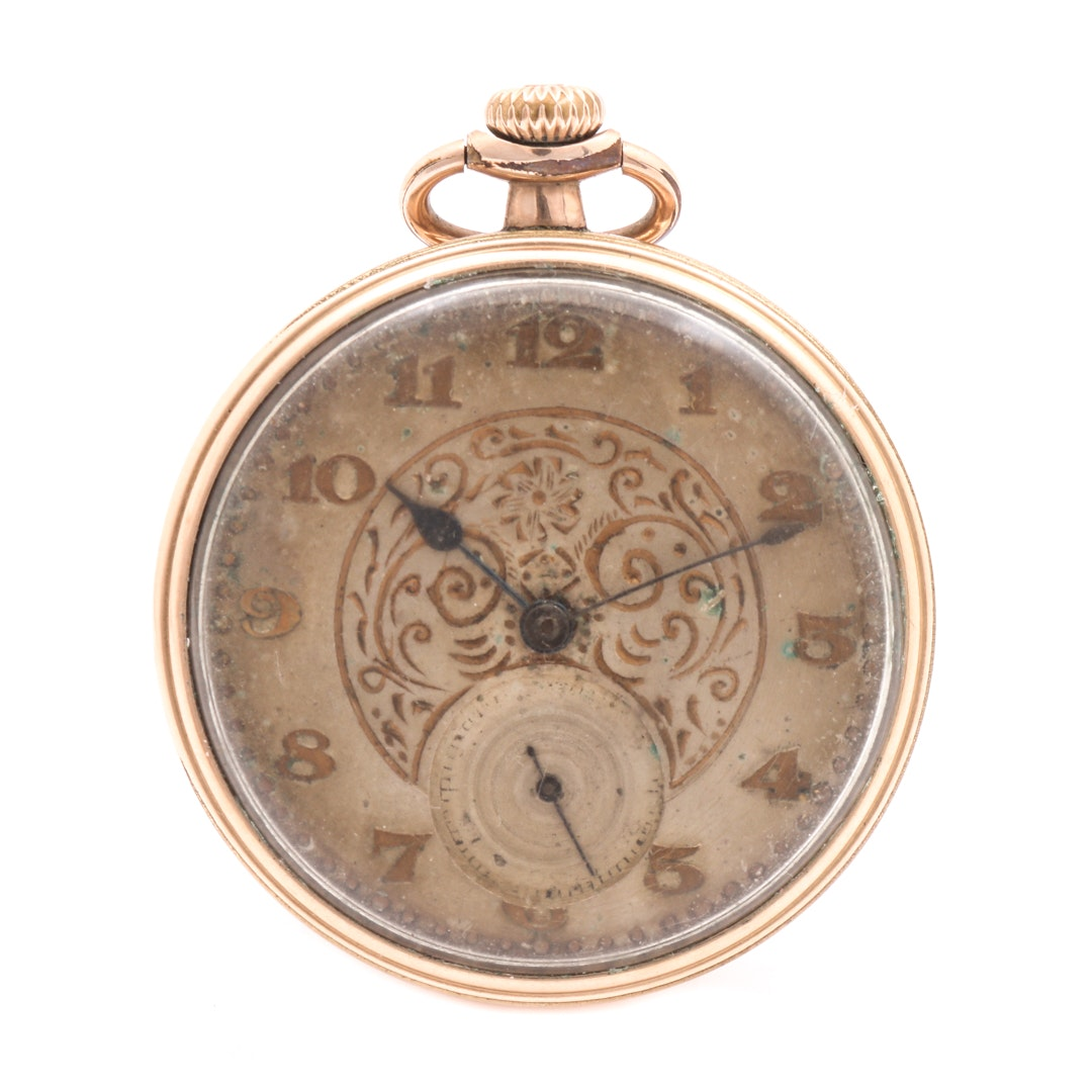 Gold Filled Open Face Pocket Watch