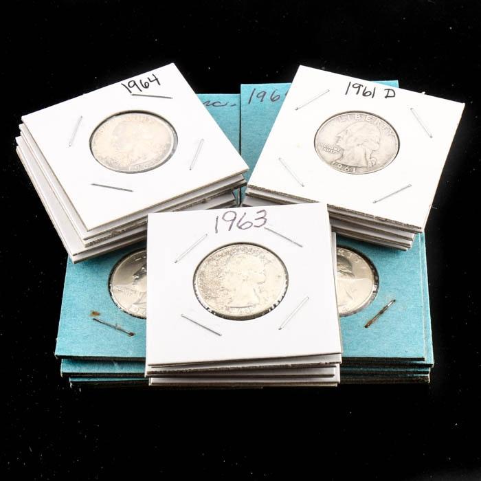 Thirty Five Washington Silver Quarters