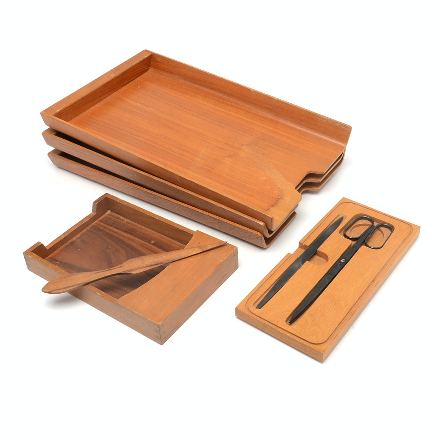 Vintage Walnut Desk Accessories