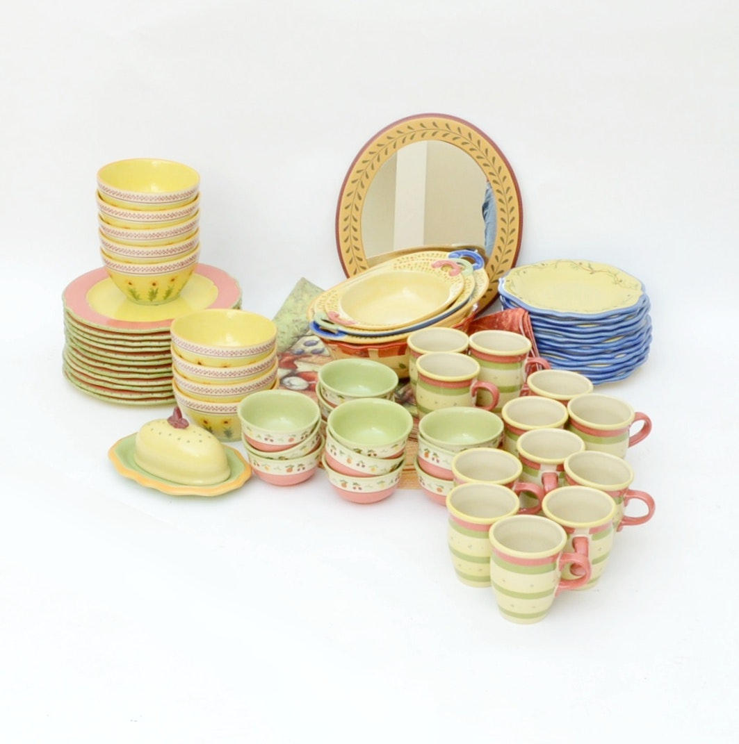 """Pfaltzgraff """"The Secrets of Pistoulet"""" Dinnerware with Table Linens"""