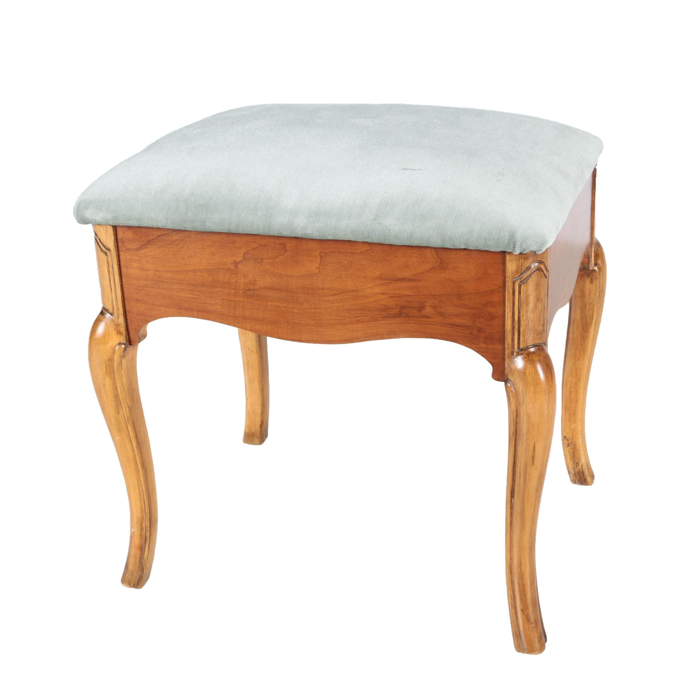 French Provincial Style Vanity Bench with Storage