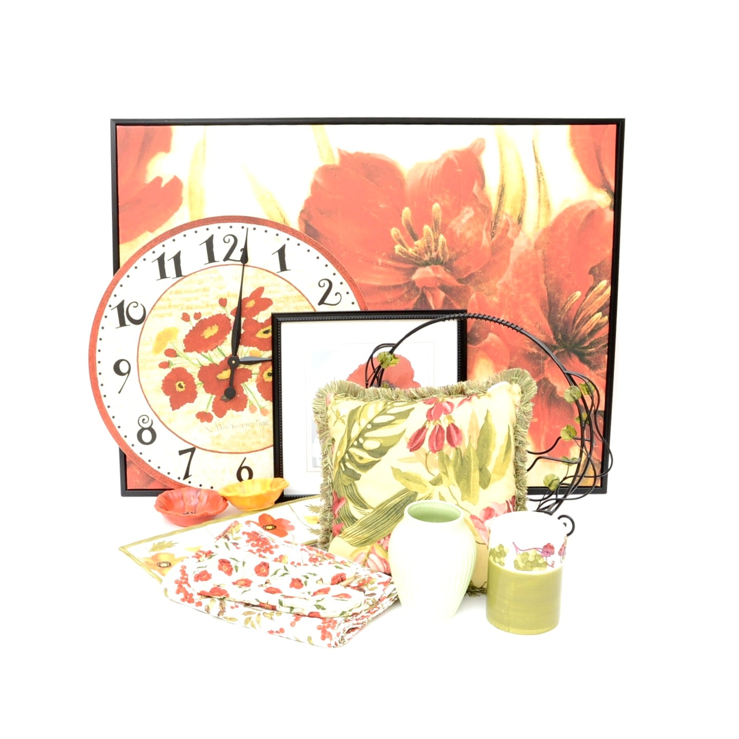Red Floral Decor, Including Poppy Clock, Framed Artwork, and Serving Ware