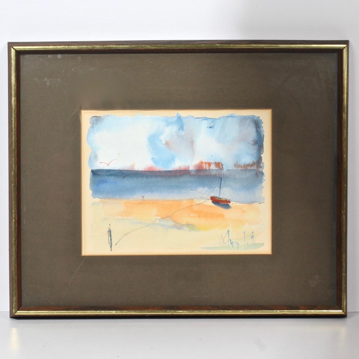 Original Watercolor of Calm Water's Edge