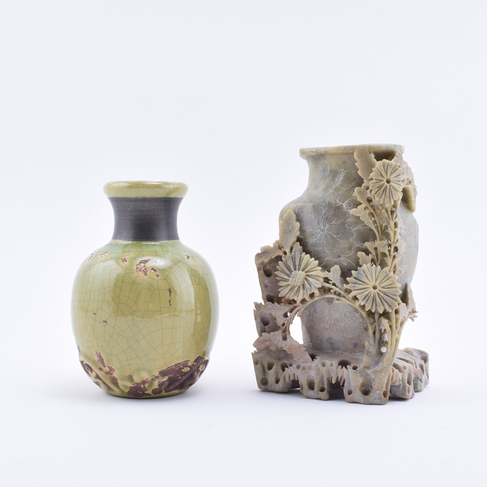 Soapstone Vase with Carved Flowers and Glazed Pottery Vase