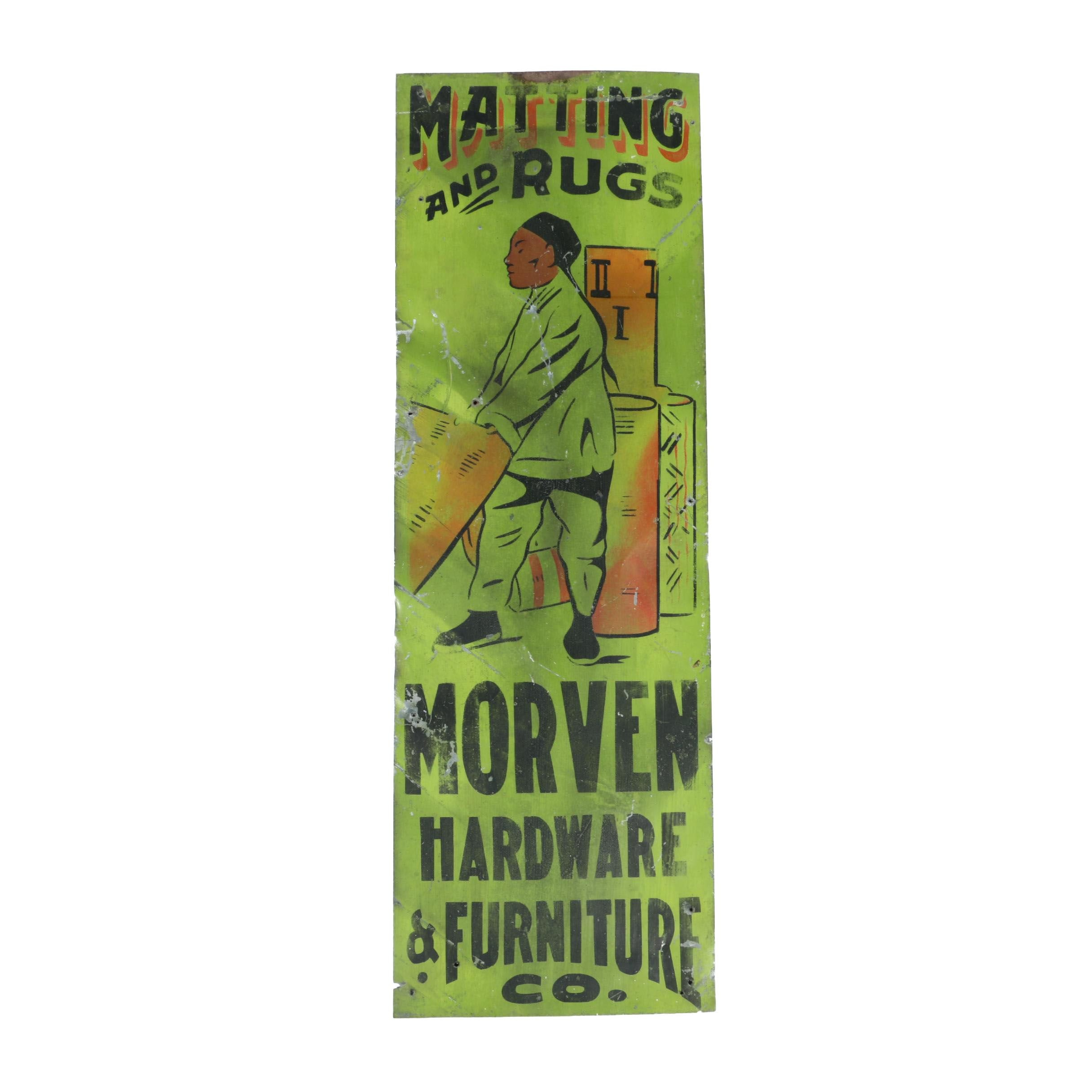 Vintage Morven Hardware & Furniture Advertisement Sign