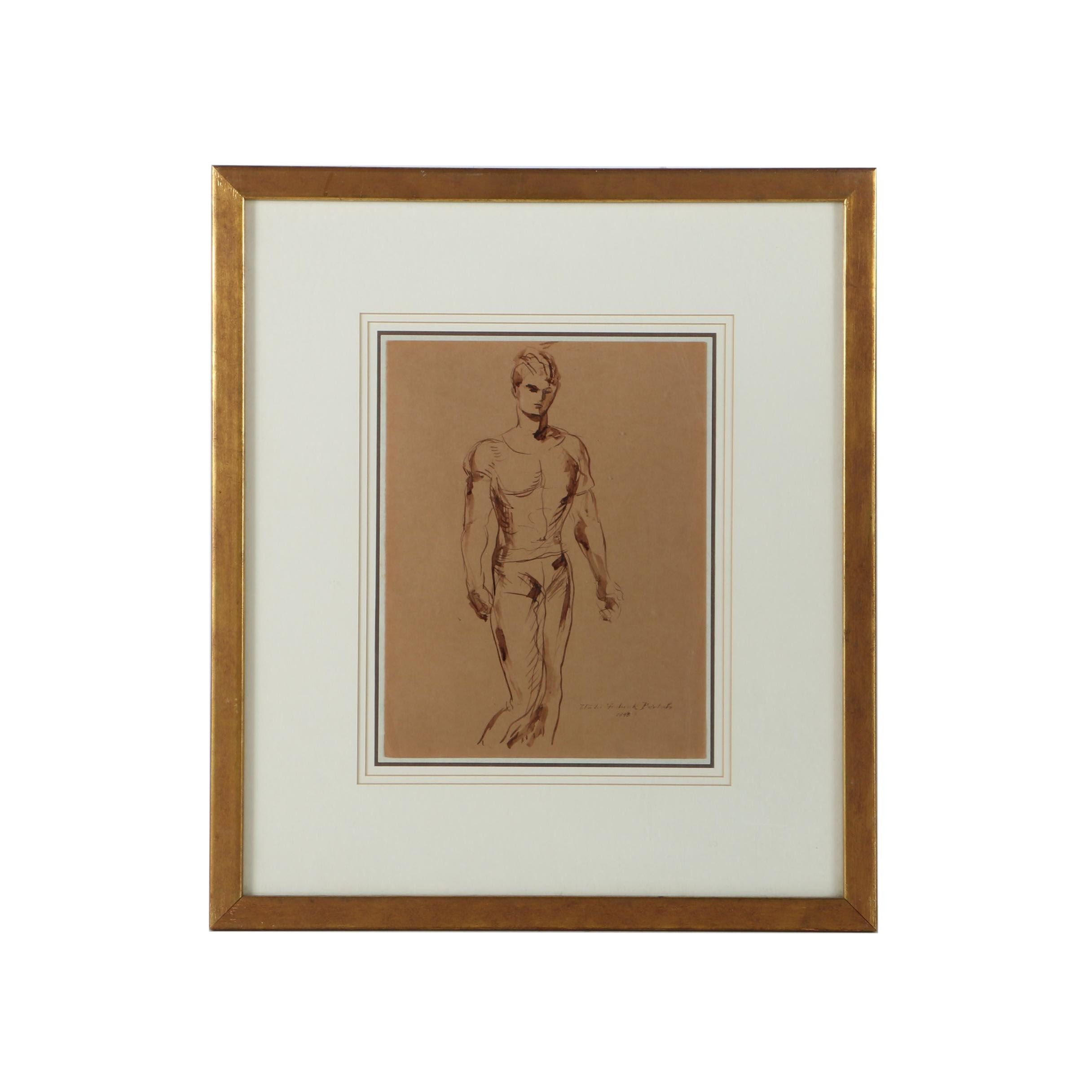 Walter Frederick Bartsch 1943 Pen and Ink Drawing Male Figure