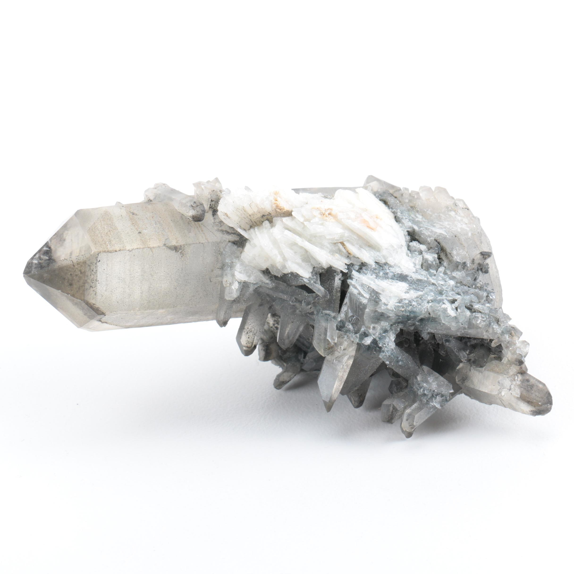 Tourmaline on Quartz Crystal Specimen
