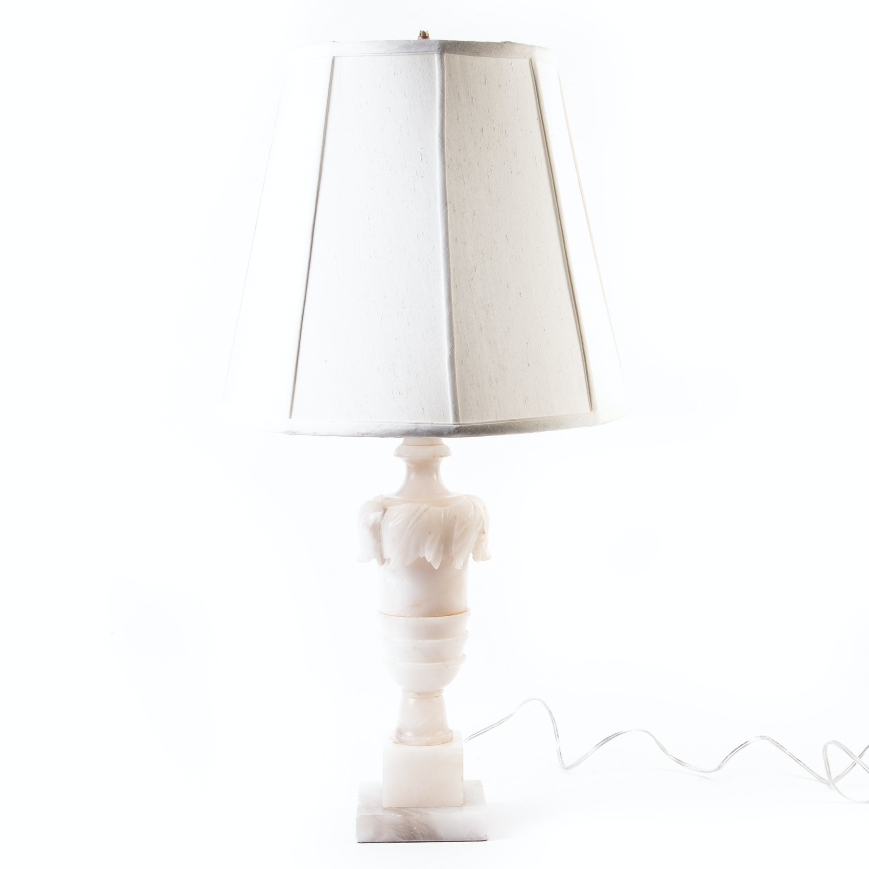 White Marble Lamp with a Waterford Silk Shade