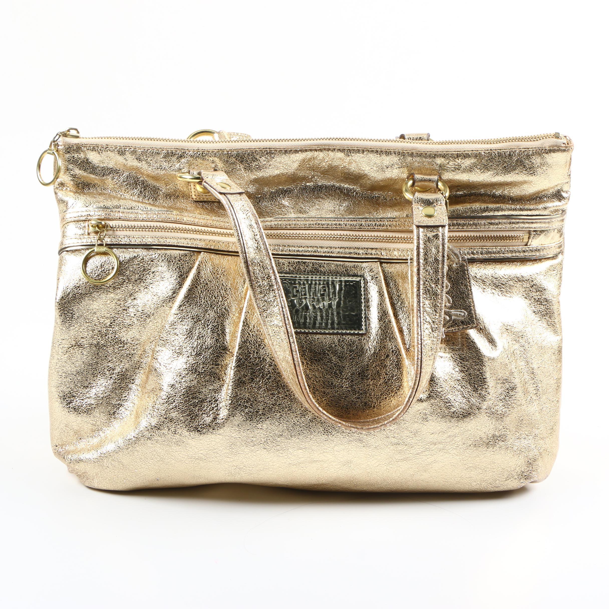 Coach Poppy Gold Metallic Tote Bag