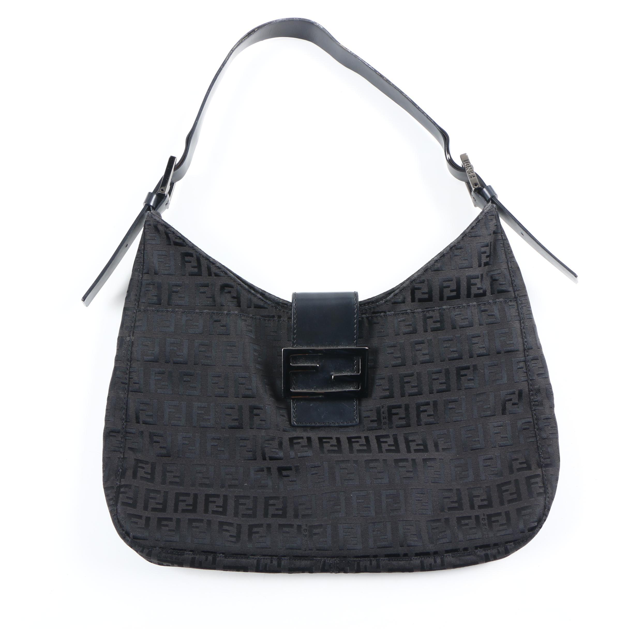 Fendi Black Canvas Handbag