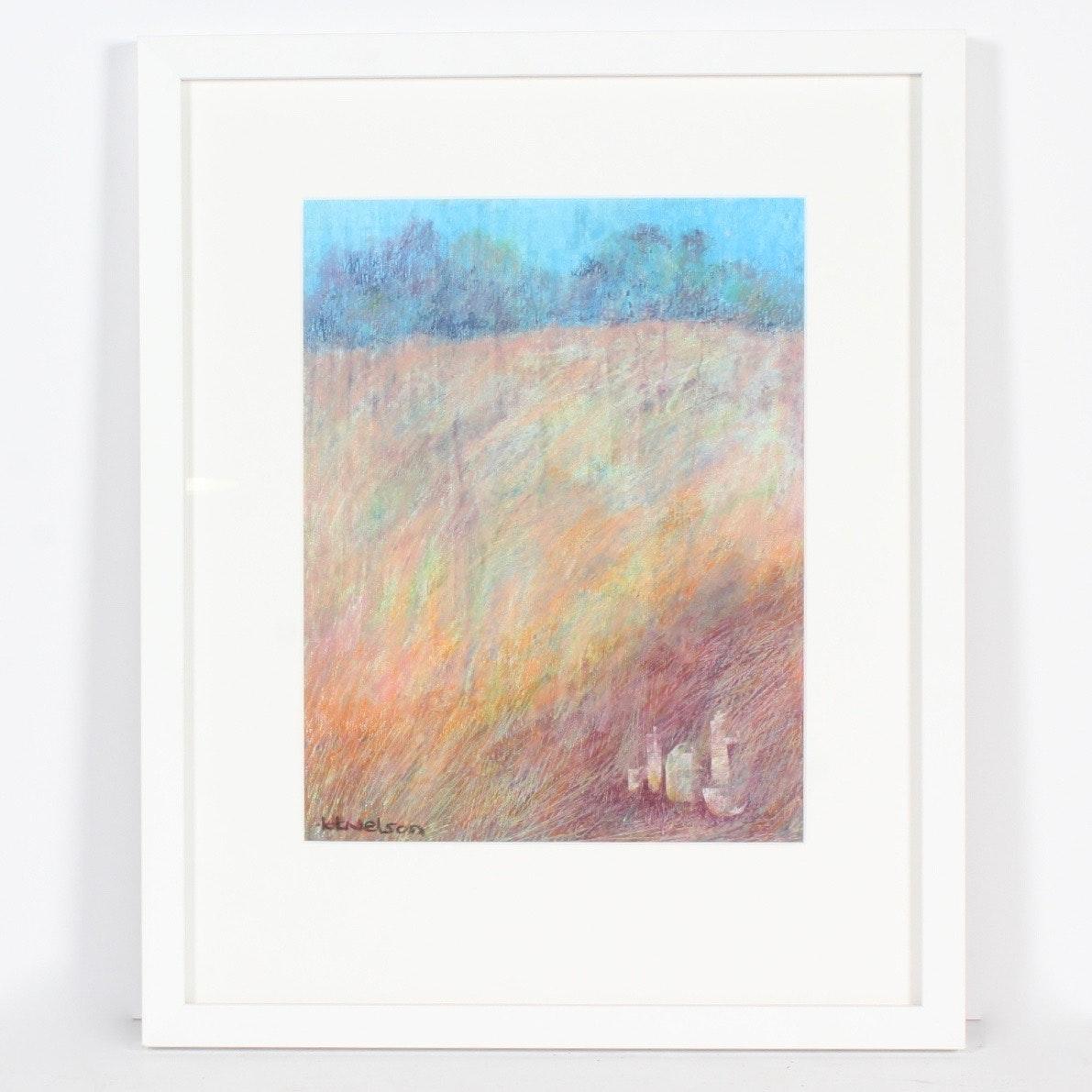 """""""Hidden Vessels"""" Oil Pastel by Kathy Nelson"""
