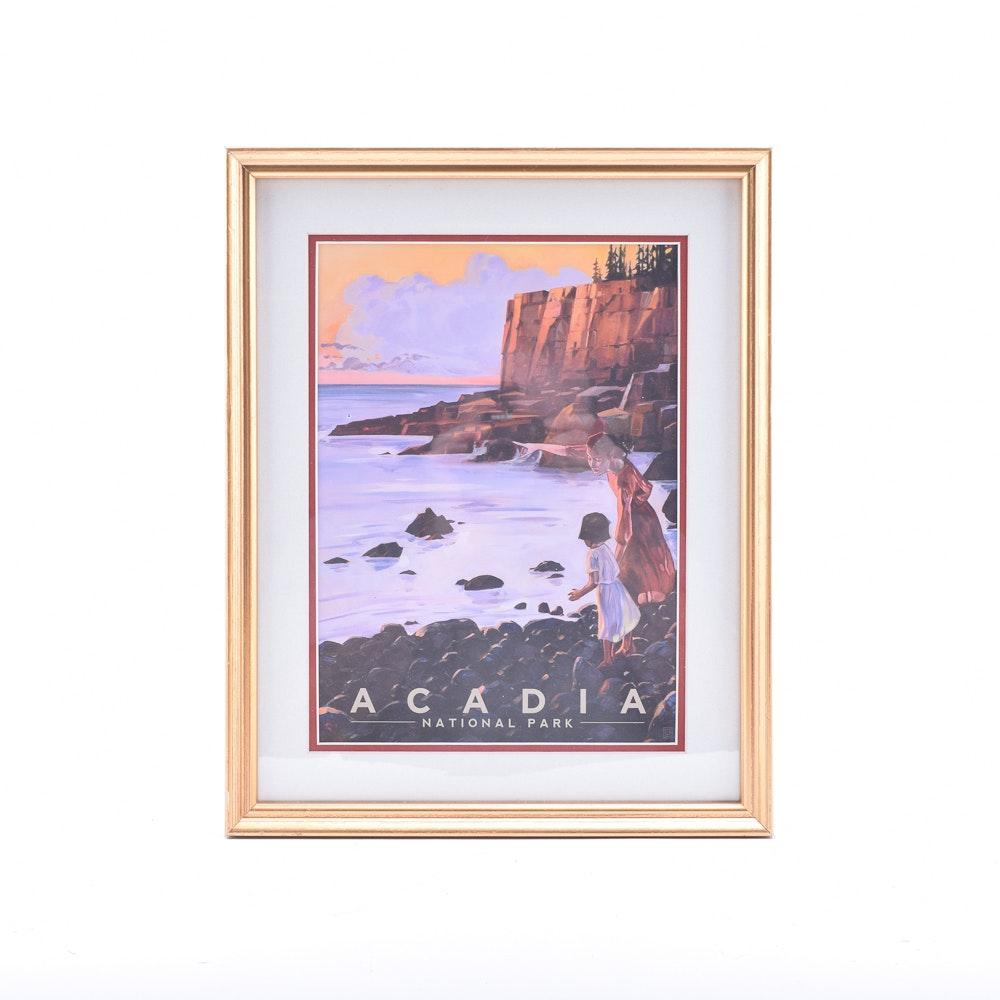 Offset Lithograph Poster After Kai Carpenter For Acadia National Park