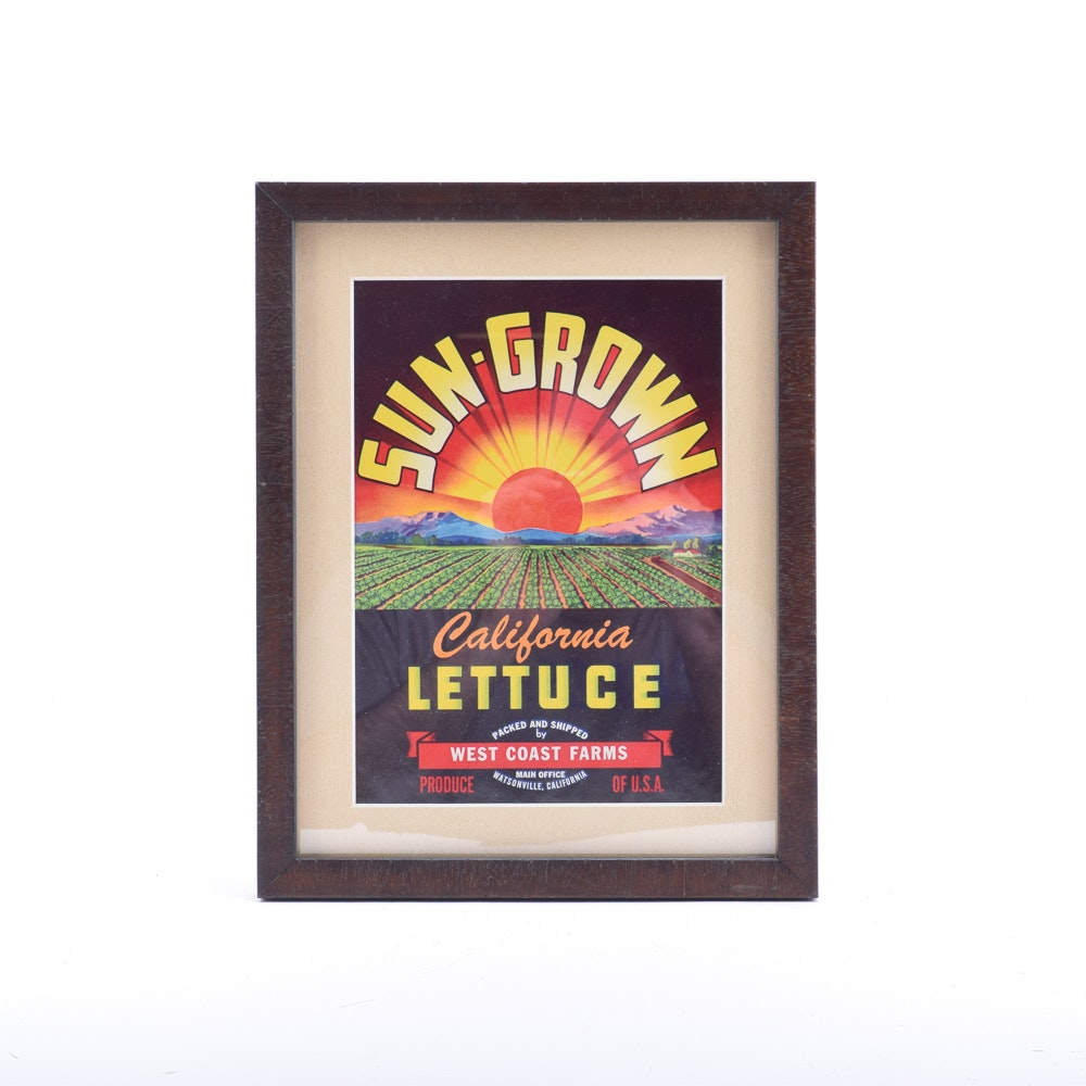 1940s Original Framed West Coast Farms Lettuce Crate Label