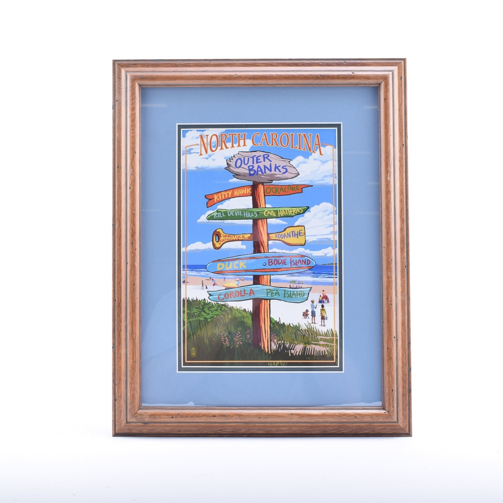"""Offset Lithograph Poster """"Outer Banks"""""""