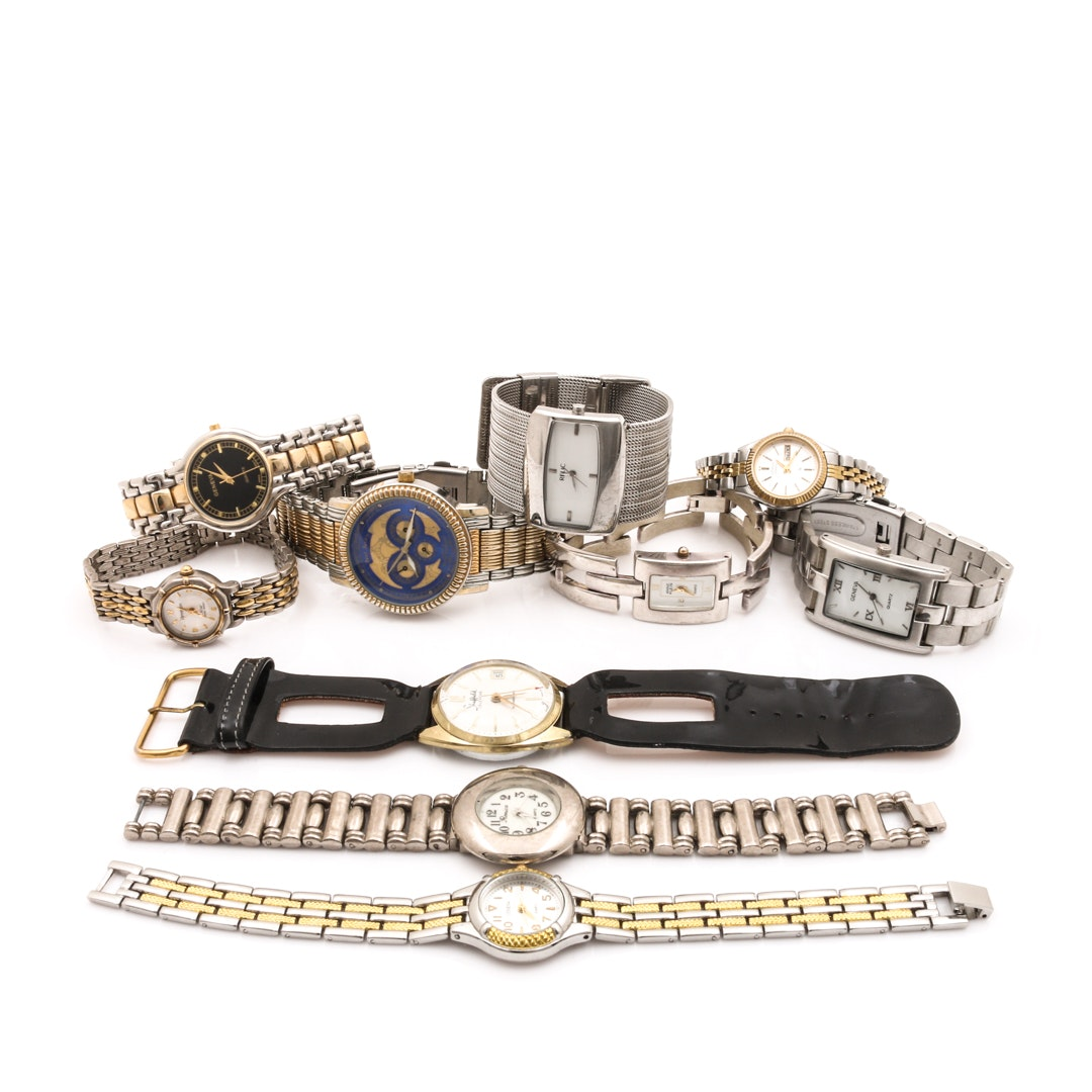 Collection of Silver Tone Wristwatches Including Paul Jardin