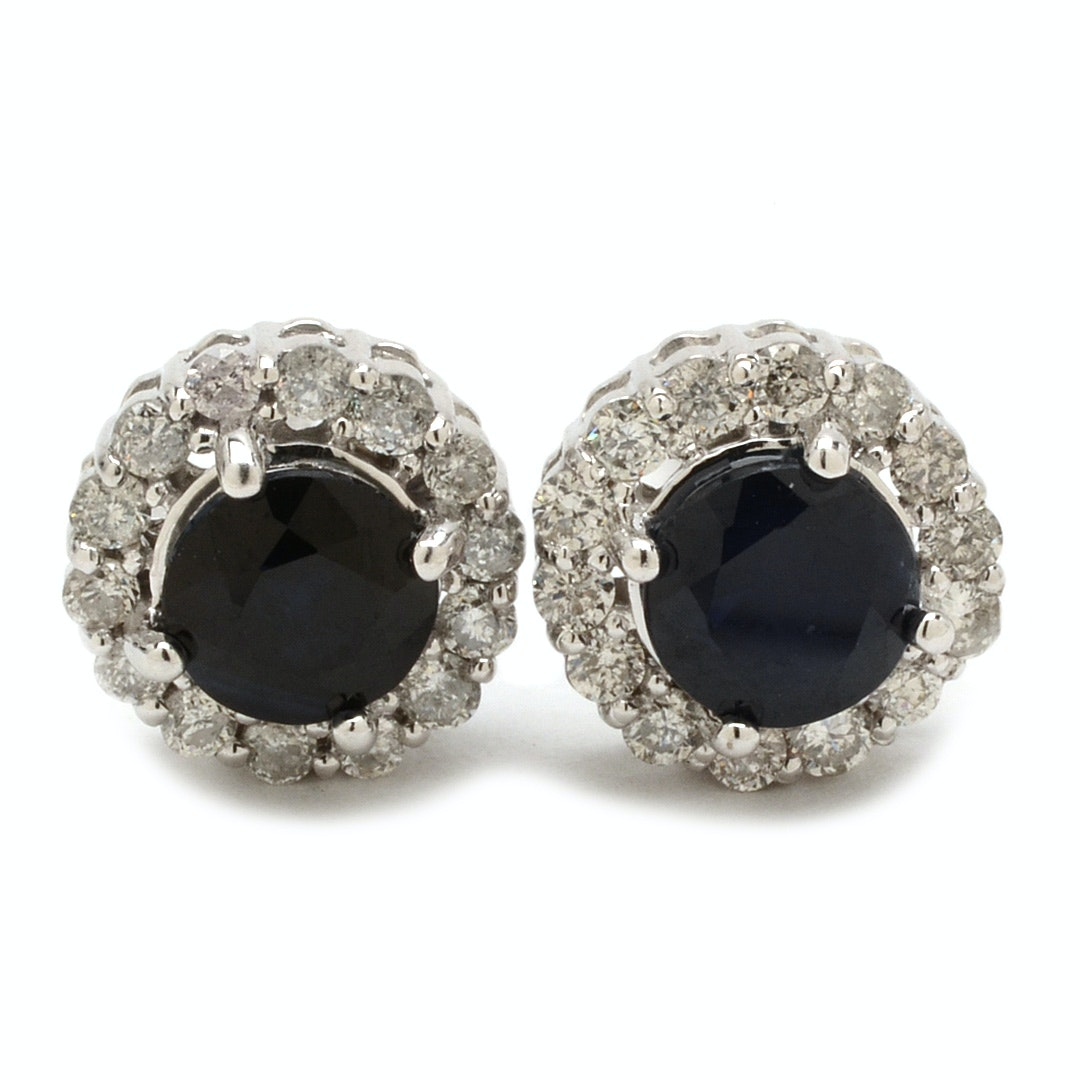 10K White Gold Blue Sapphire and Diamond Halo Earrings