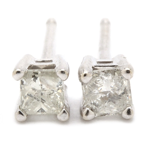10K and 14K White Gold Princess Cut Diamond Stud Earrings