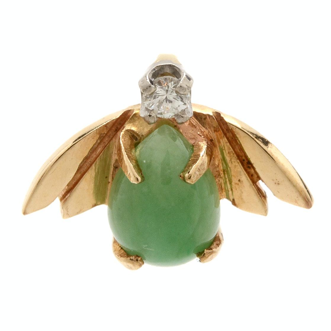 14K Yellow Gold Diamond and Jadeite Pendant