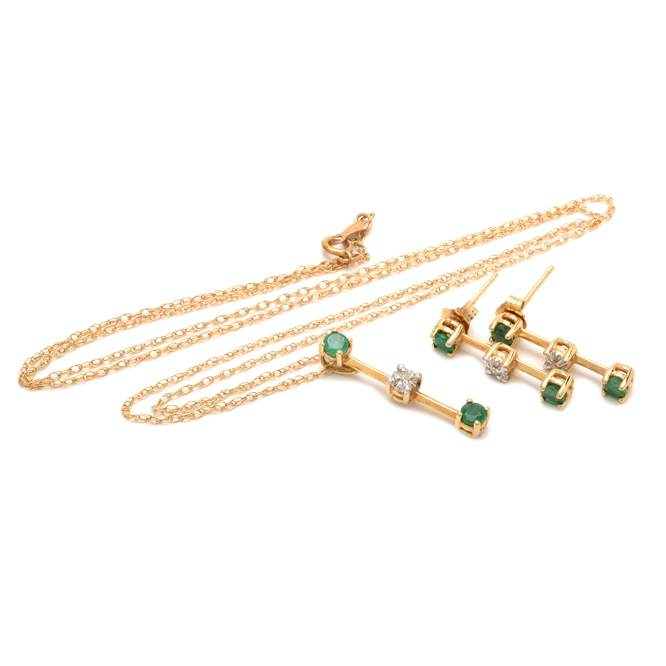 10K Yellow Gold Emerald and Diamond Pendant Necklace and Earrings