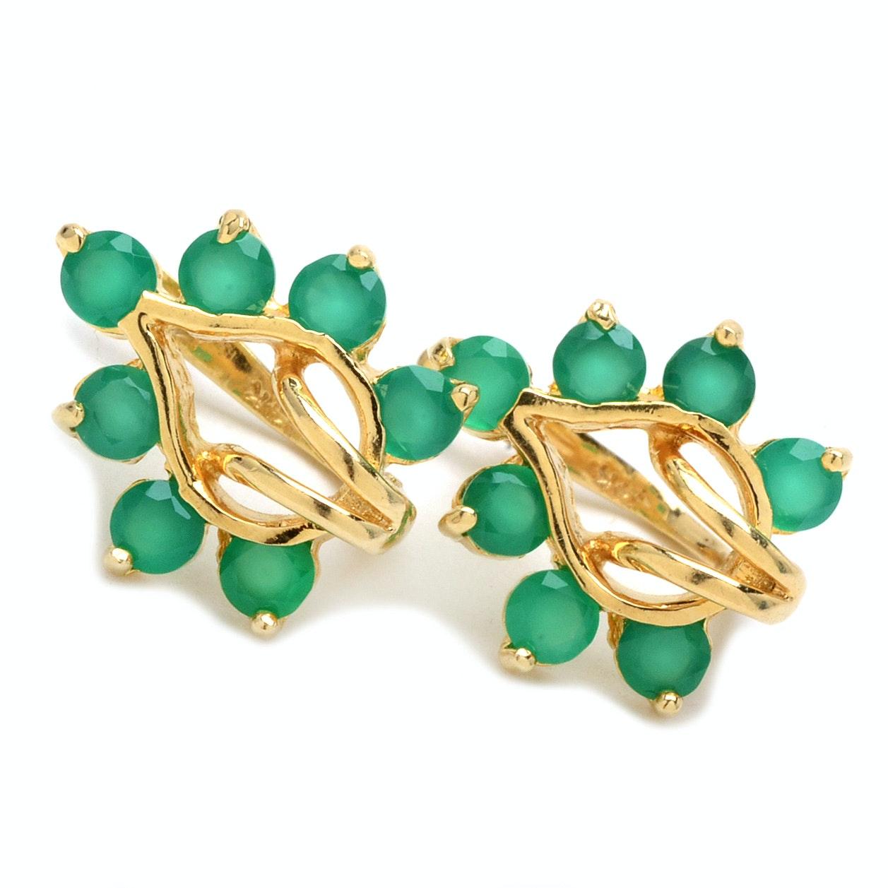 14K Yellow Gold Green Chalcedony Earrings