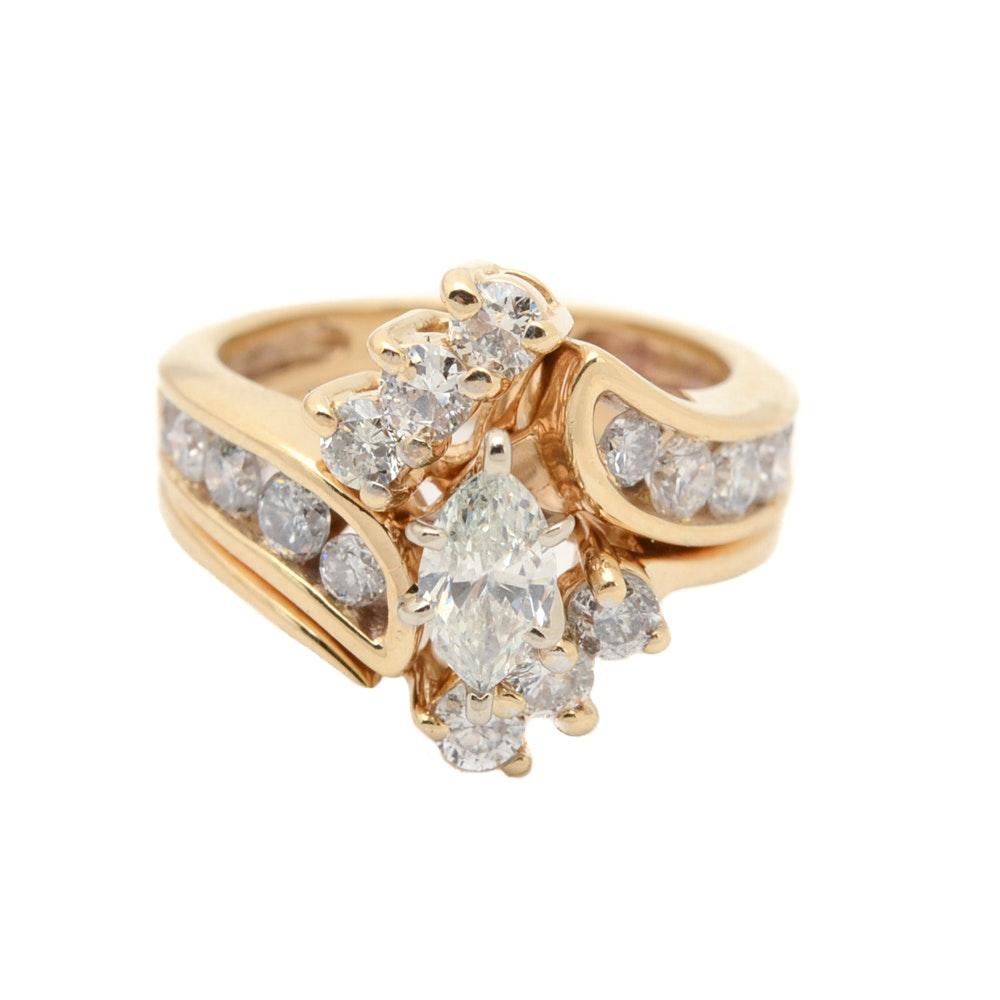 14K Yellow Gold 1.43 CTW Diamond Wedding Ring