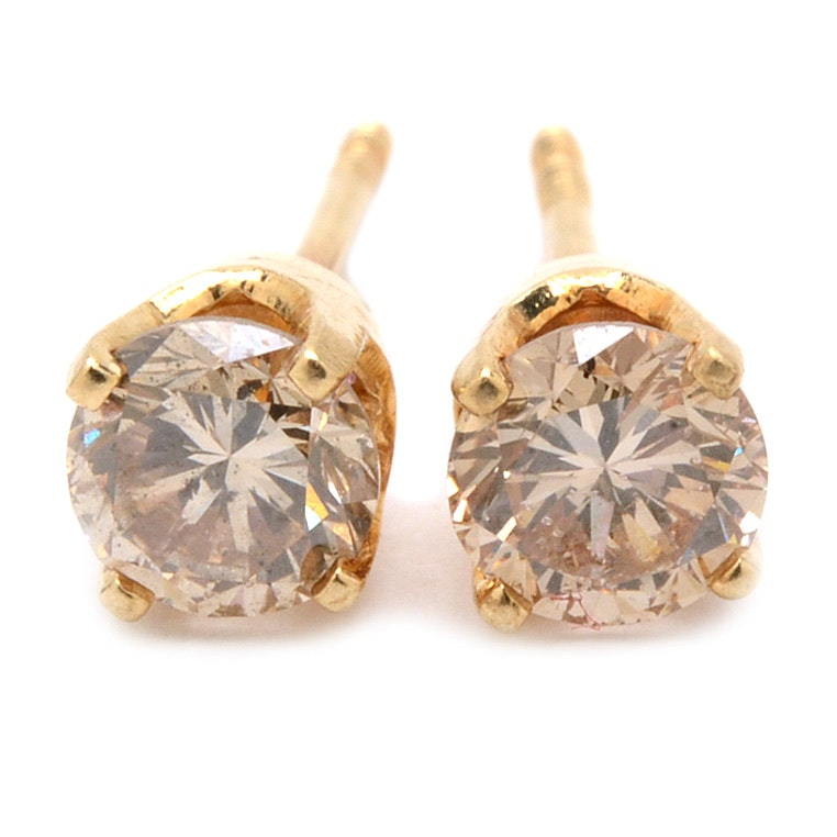 14K Yellow Gold Brown Diamond Stud Earrings