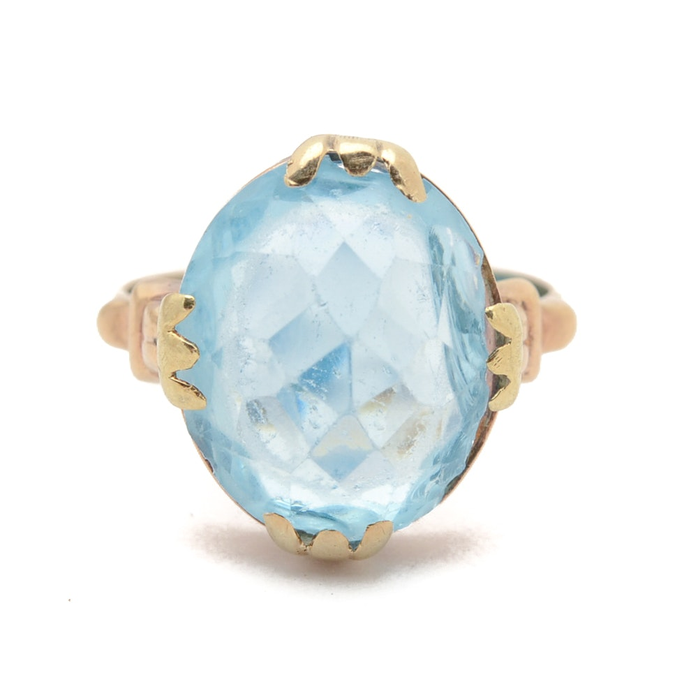 Vintage 10K Yellow Gold Faceted Blue Glass Ring