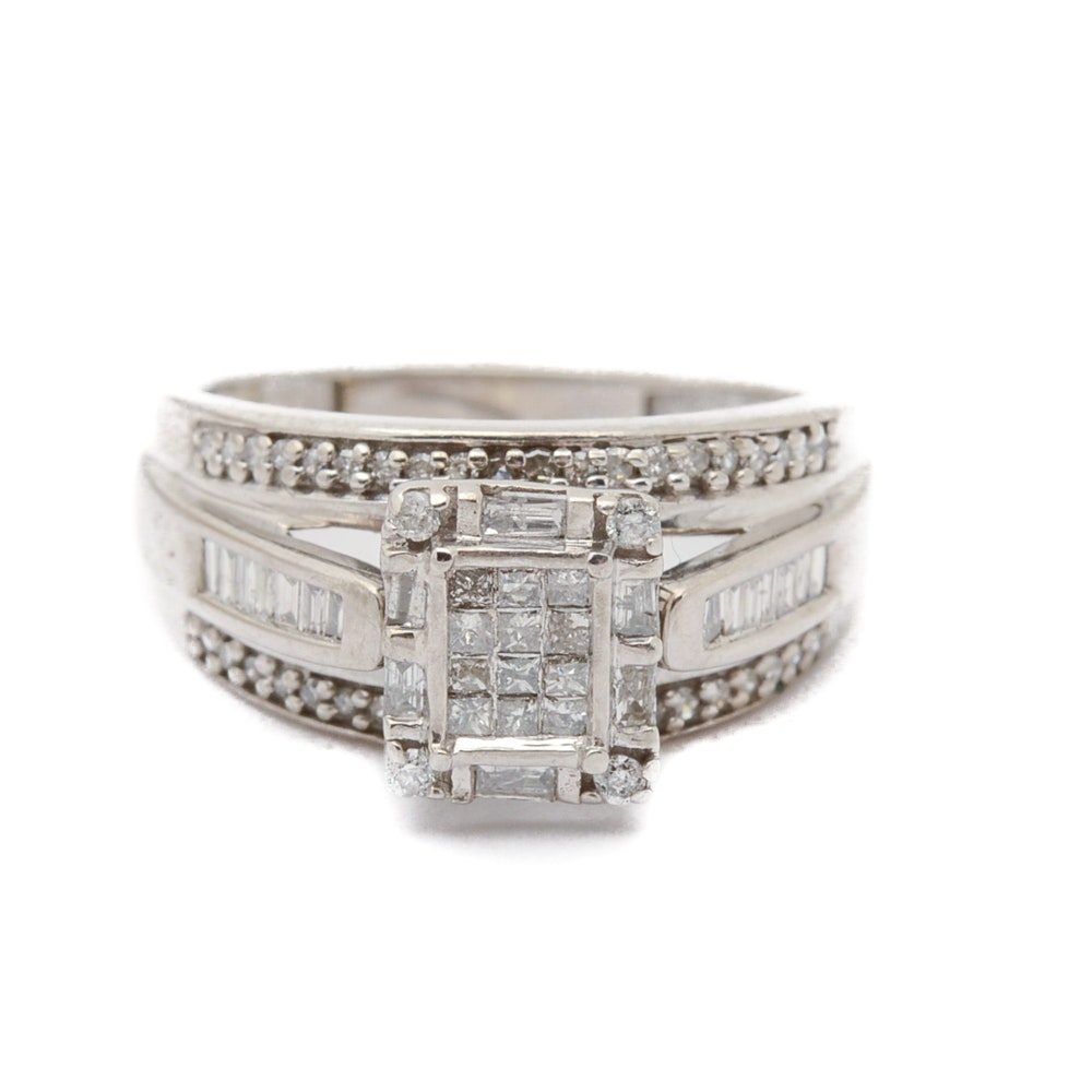 10K White Gold Diamond Wedding Ring