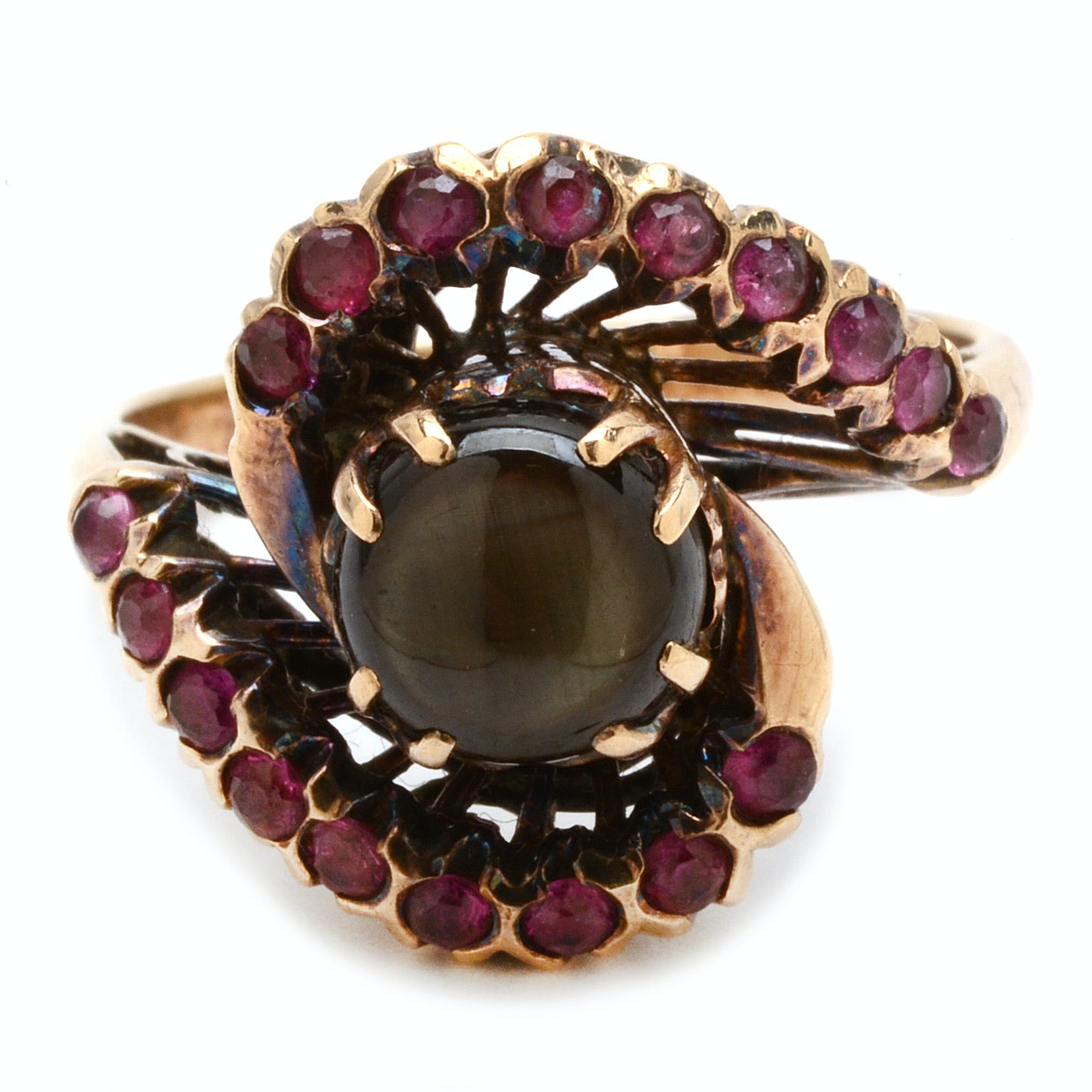 14K Yellow Gold Black Star Ruby Bypass Ring