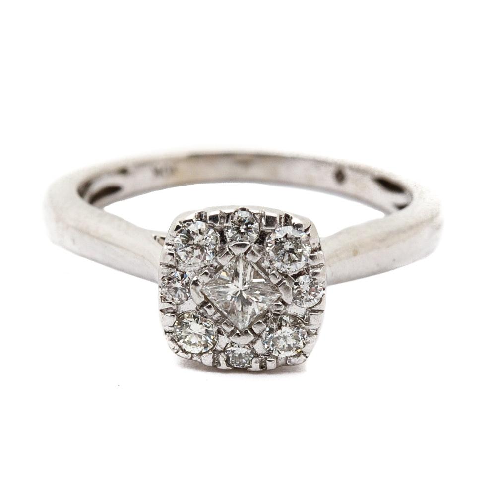 10K White Gold Princess Cut Diamond Halo Ring