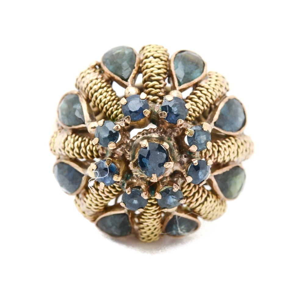 10K Yellow Gold Blue Sapphire Dome Ring