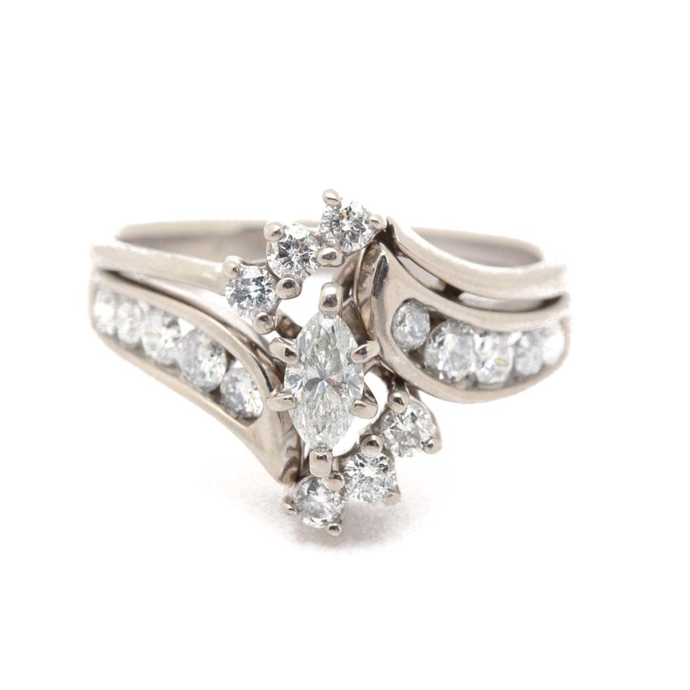 14K White Gold Marquise Cut Diamond Wedding Ring