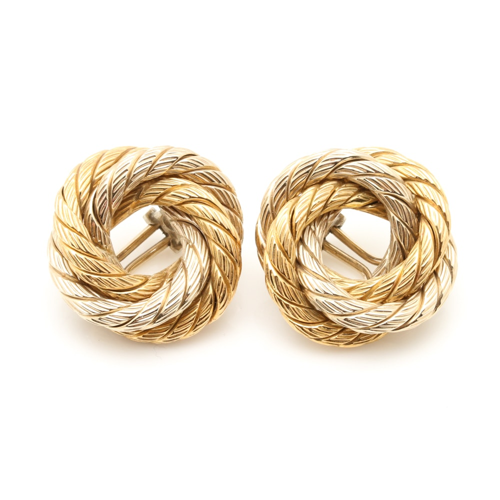 Carlo Weingrill 18K Yellow and White Gold Open Knot Clip On Earrings