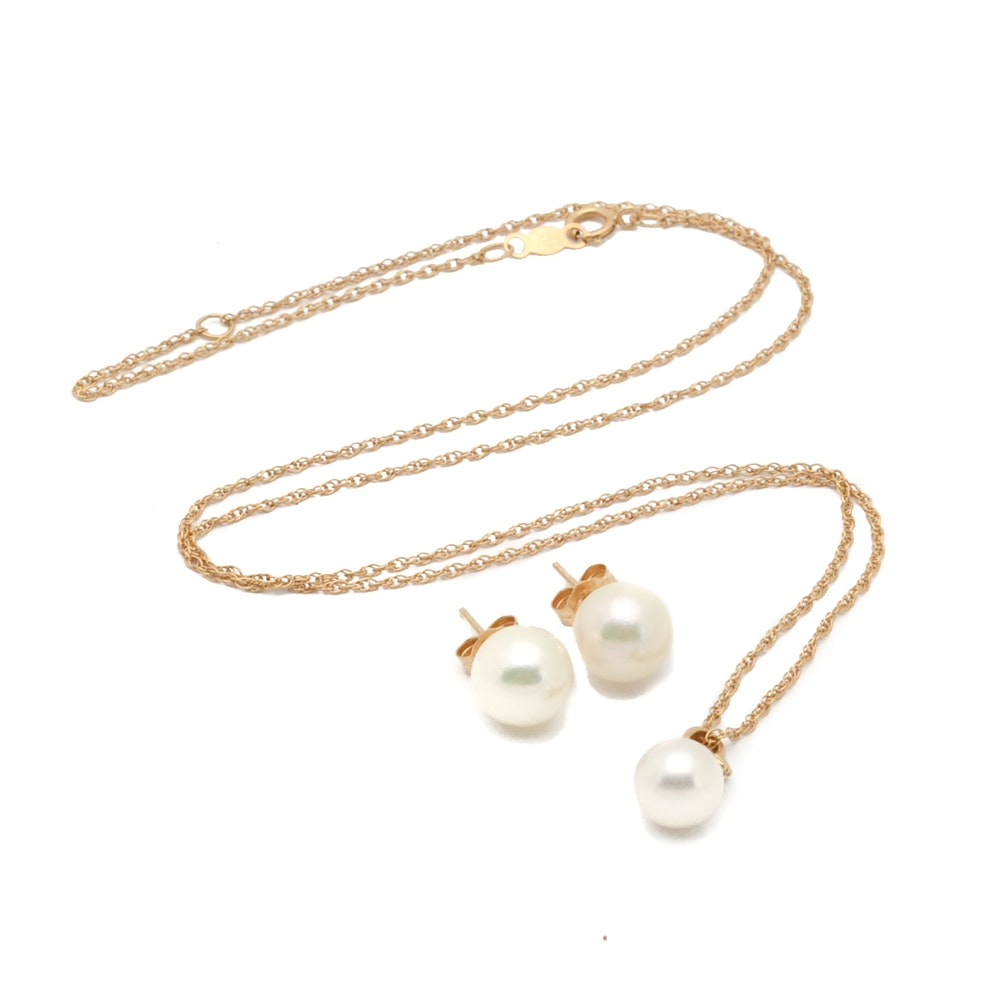 14K Yellow Gold Cultured Pearl and Diamond Necklace and Earrings