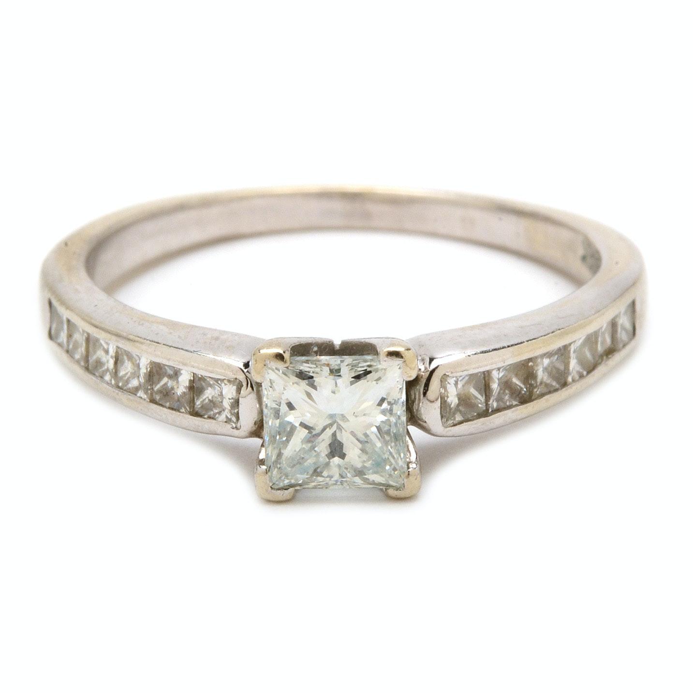 14K White Gold 1.07 CTW Princess Cut Diamond Ring
