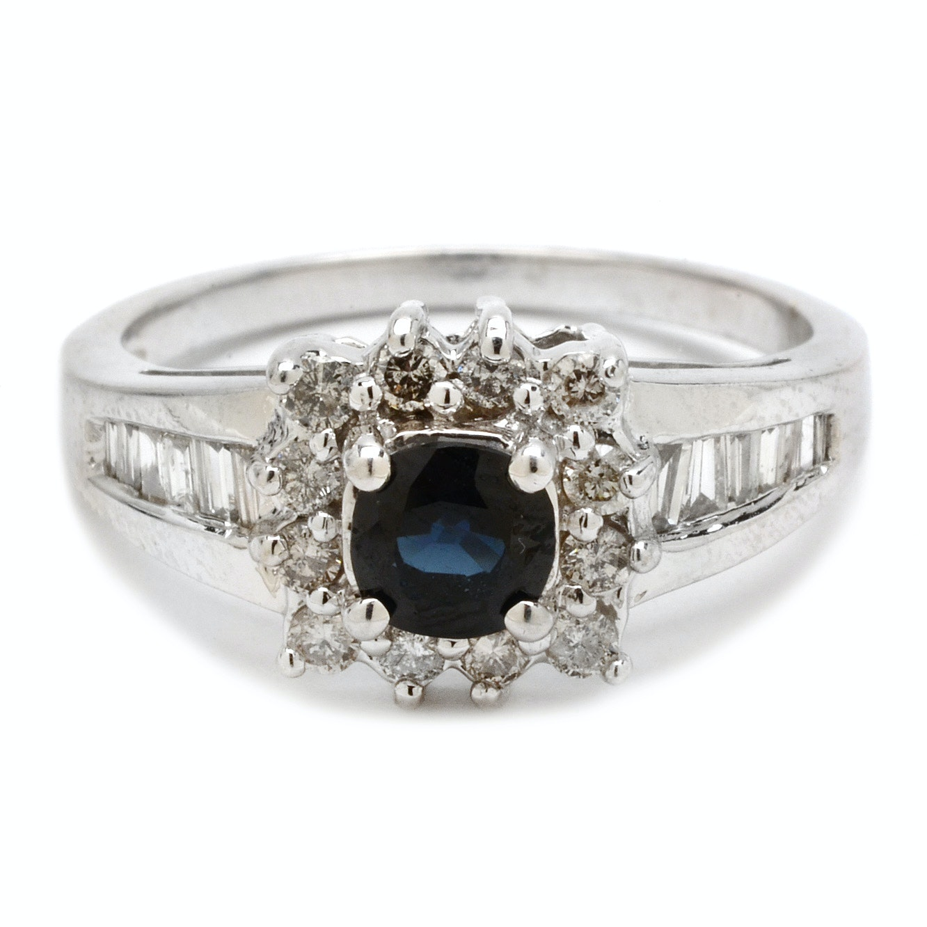 14K White Gold Blue Sapphire and Diamond Halo RIng