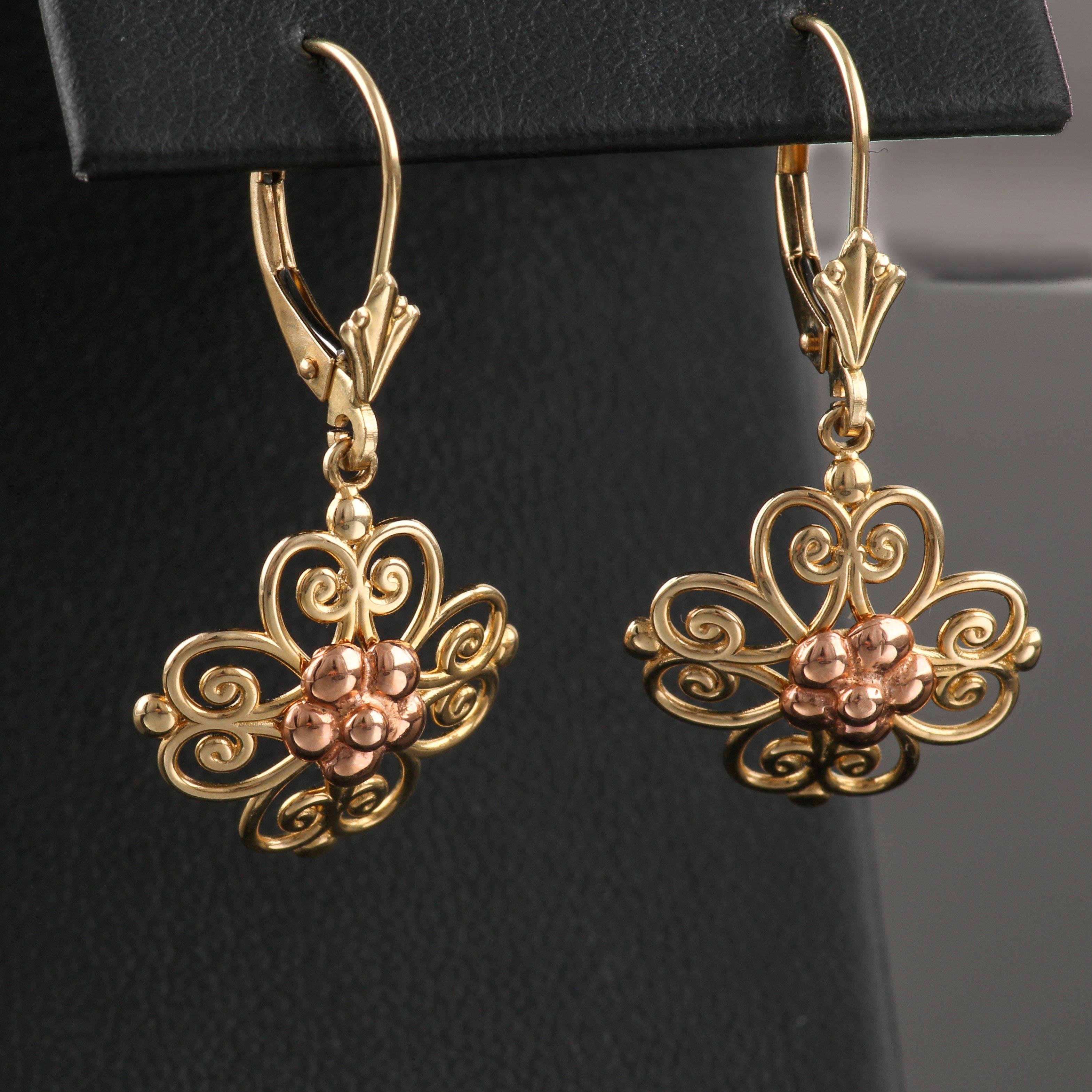 14K Yellow Gold Two-Tone Earrings