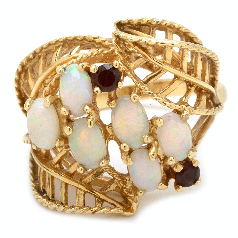 14K Yellow Gold Opal and Garnet Fashion Ring