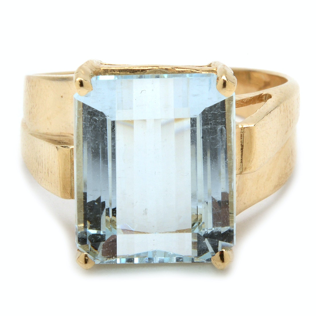 14K Yellow Gold 4.76 CT Aquamarine Statement Ring