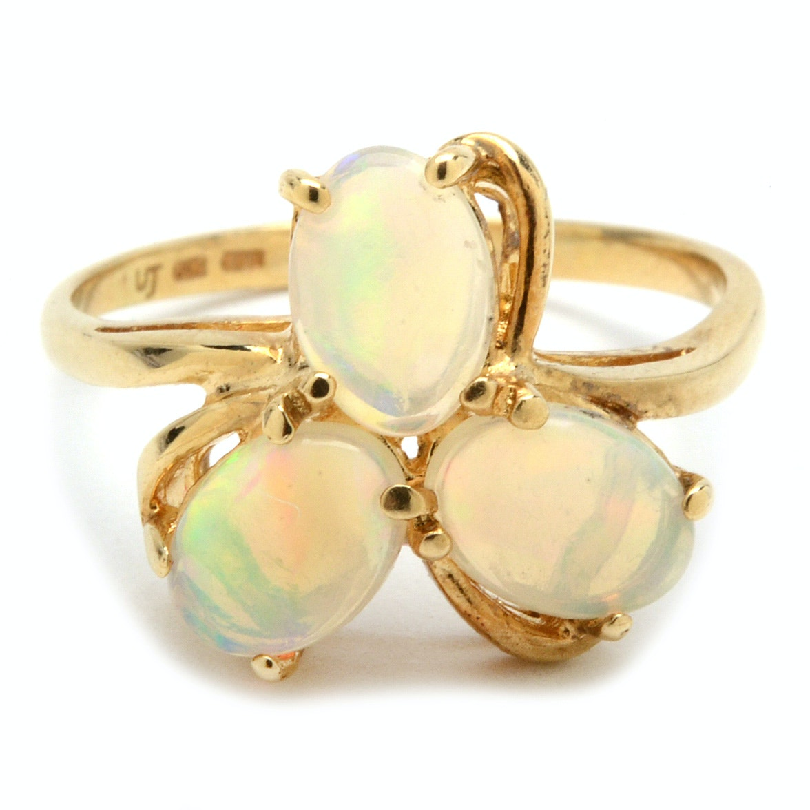14K Yellow Gold Opal Cabochon Ring