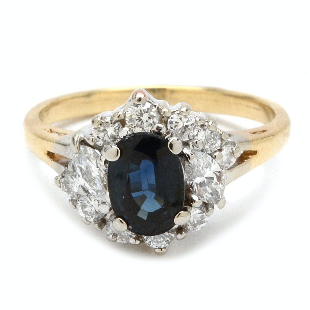 14K Yellow Gold Blue Sapphire and Marquise Diamond Ring