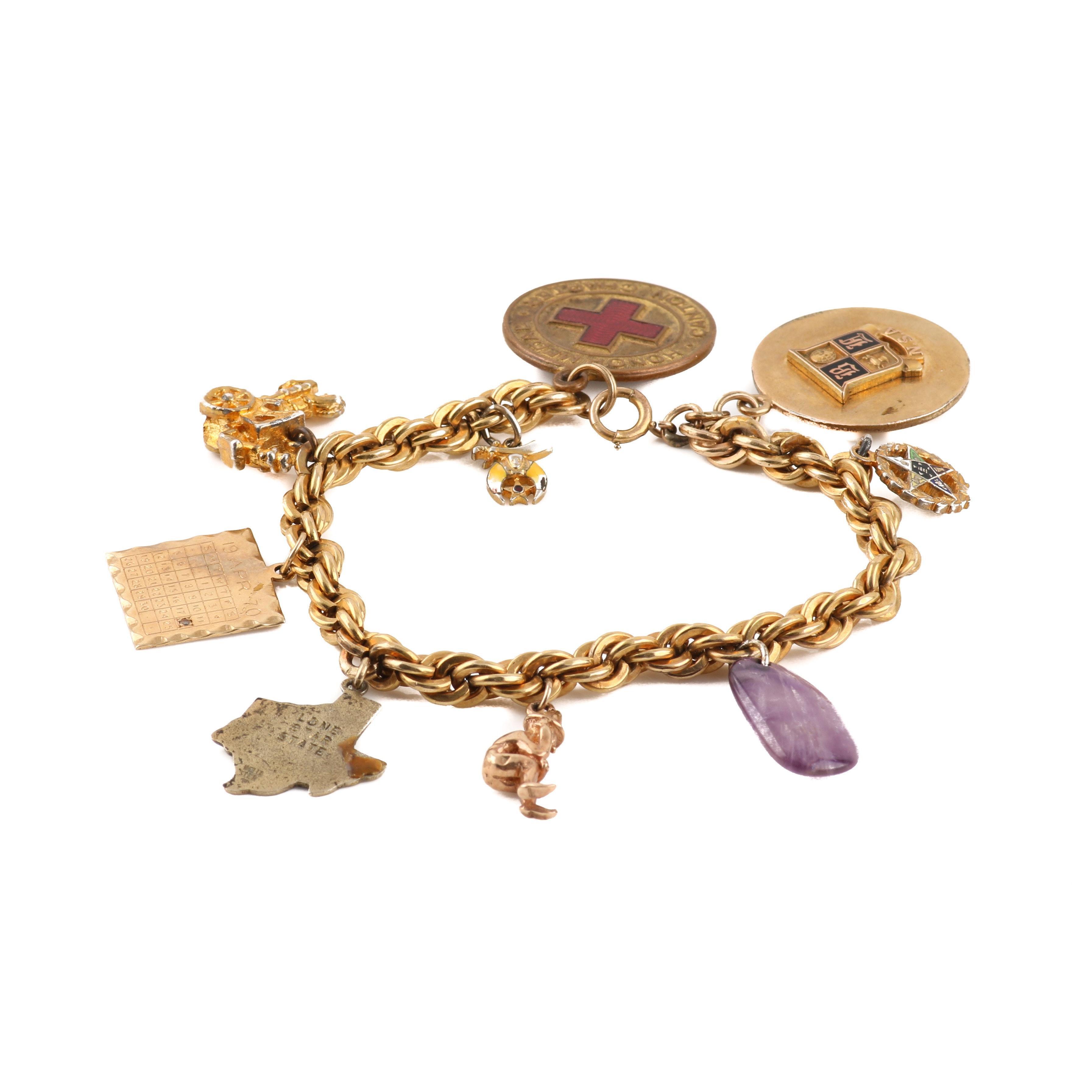 Gold-Filled Charm Bracelet Including an Amethyst Charm